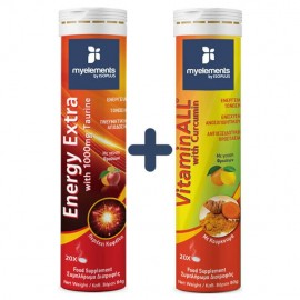 MyElements Energy Extra with Taurine & VitaminALL with Curcumin 20+20 Αναβράζοντα Δισκία