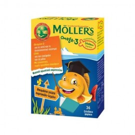 Mollers Omega 3 Ζελεδάκια Ψαράκια για παιδιά με Γεύση Πορτοκάλι-Λεμόνι 36τμχ