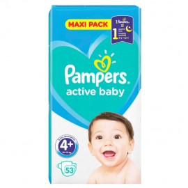 Pampers Active Baby Dry Maxi Pack No 4+ (10-15Kg) 53τμχ 1+1 ΔΩΡΟ