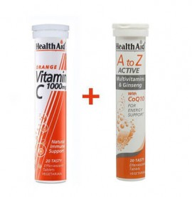 Health Aid A to Z Active 20 αναβράζουσες ταμπλέτες + Vitamin C 1000mg Πορτοκάλι 20 αναβράζουσες ταμπλέτες