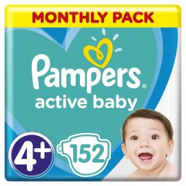 Pampers Active Baby Monthly Pack No4+ ( 10 - 15kg) 152τμχ