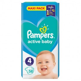 Pampers Active Baby Dry Maxi Pack No 4 (9-14Kg) 58τμχ 1+1 ΔΩΡΟ